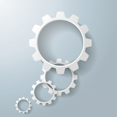 Three black gears on the grey background photo