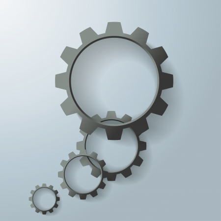Black gears on the grey background.  Vector