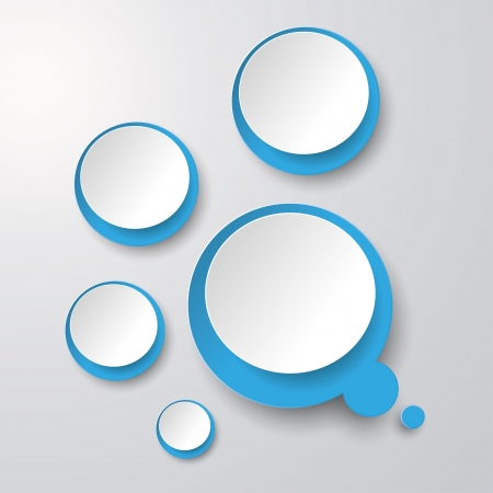 Blue white thought bubble with circles on the grey background.