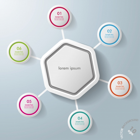 Infographic with big hexagon and colorful rings. Vector