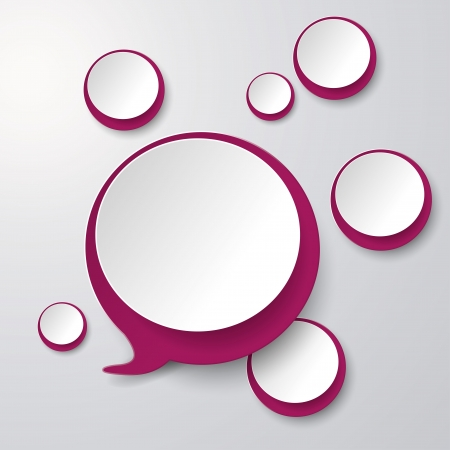 Purple white speech bubble with circles on the grey background.  Vector