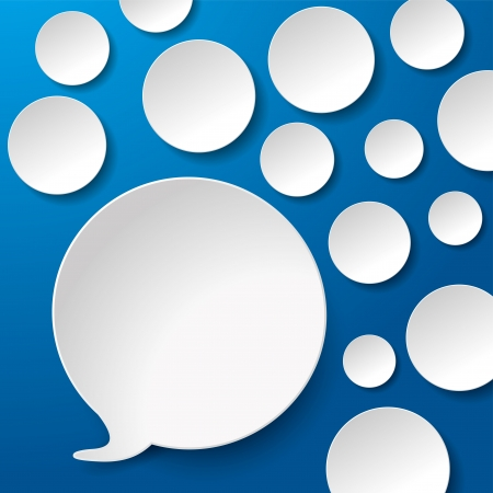 Speech bubbles with circles blue background.  Vector