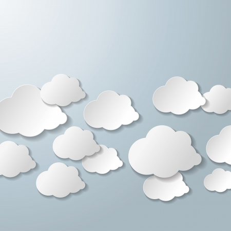 White clouds on the grey background. Vector