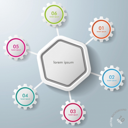 Infographic with big hexagon and colorful gears Vector