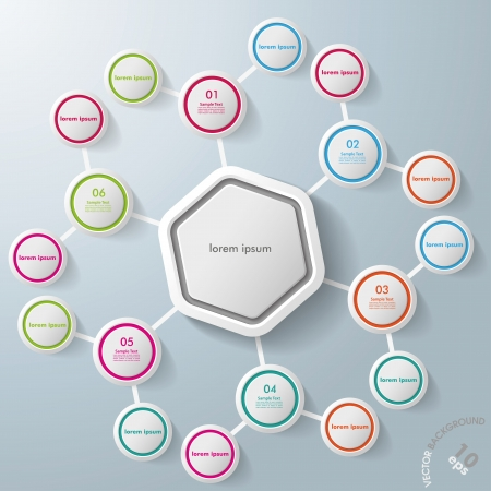 Infographic with big hexagon and colorful rings Vector
