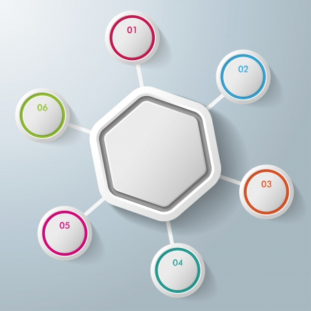 six objects: Infographic with big hexagon and colorful rings