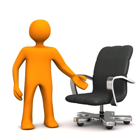 office cubicle: Orange cartoon character with swivel armchair on the white background.