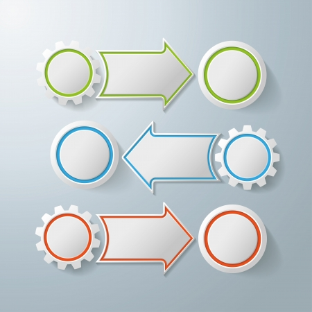 Colorful infographic gears with arrows on the grey background