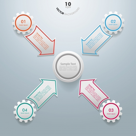 Colorful infographic gears with arrows on the grey background. Eps 10 vector file. Vector