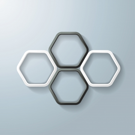 Black and white hexagon rings with shadows on the grey background. Eps 10 vector file. Vector