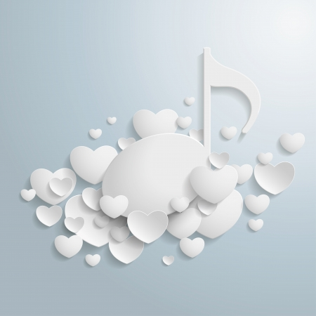 White hearts with a music note on the grey background  Eps 10 vector file  Vector