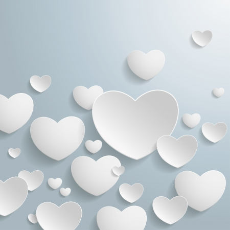 eps 10: White hearts on the grey background  Eps 10 vector file