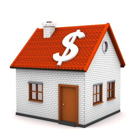greenbacks: A small house with white symbol of dollar. White background. Stock Photo