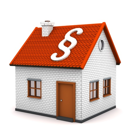 ruling: A small house with white symbol of paragraph. White background.