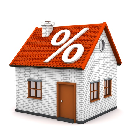 realtor: House with white symbol of percent on the white background.