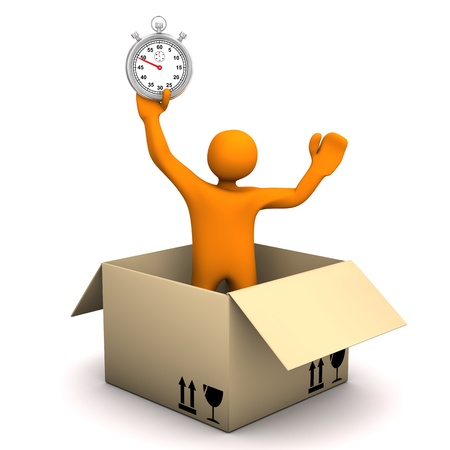 forwarding: Orange cartoon character with parcel and stopwatch.