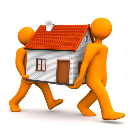 Two orange cartoon character carries a house. White background.
