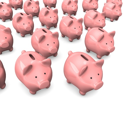 accountig: Pink piggy banks on the white background. Stock Photo