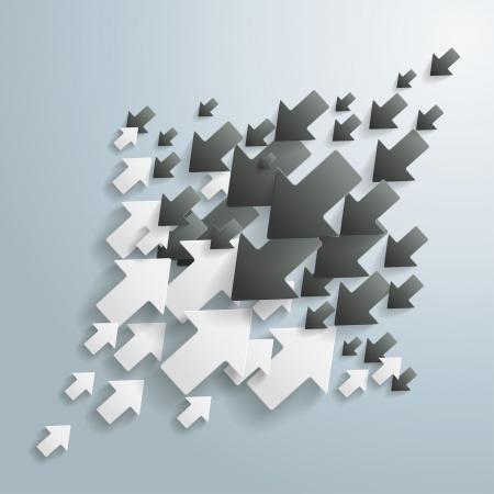 Flechas en blanco y negro sobre el fondo gris. archivo vectorial. Ilustración de vector