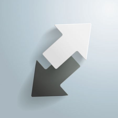 opposing: Black and White arrows on the grey background. vector file.