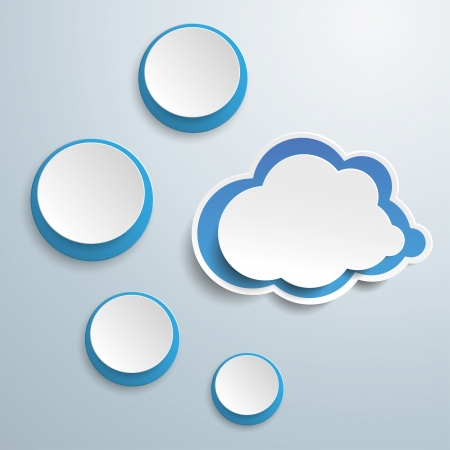 thought clouds: Blue white thought bubble with clouds on the grey background vector file