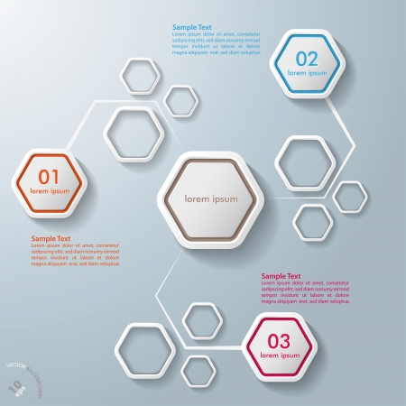 hexagon: White hexagos with shadows on the grey background   vector file