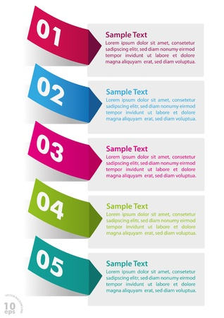 workflow: Five colorful stickers on the white background vector file  Illustration