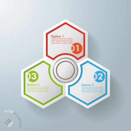 three object: White hexagos with shadows on the grey background  vector file