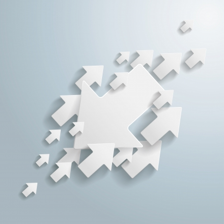 against the current: White arrows on the grey background  vector file