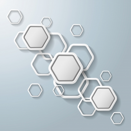 White hexagos with shadows on the grey background   vector file
