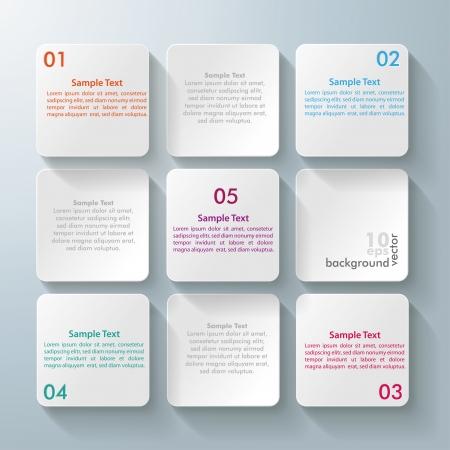 objetos cuadrados: Diseño Infografía con los cuadrados rectángulo blanco en el fondo gris.