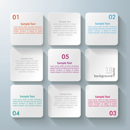 stand out: Infographic design with white rectangle squares on the grey background.  Illustration
