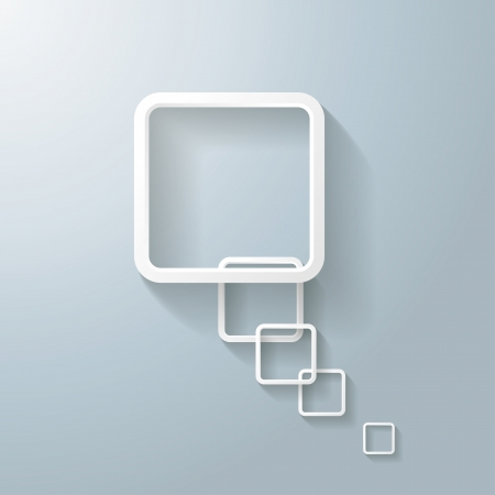 oblongs: Abstract rectangle speech bubble on the grey background.