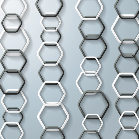 Black and white hexagons with shadows on the grey background.  Vector