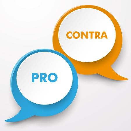 oposicion: Las burbujas del discurso de colores con el texto Pro y Contra.