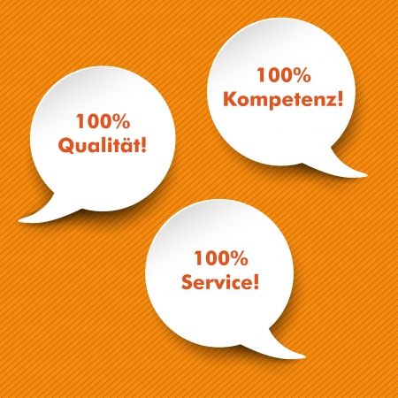 competence: Three white speech bubbles with german text 100% Qualitaet, Service, Kompetenz, translate 100% quality, service and competence. Illustration