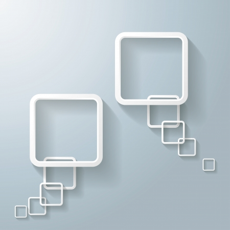 oblongs: Two abstract rectangle speech bubbles on the grey background.