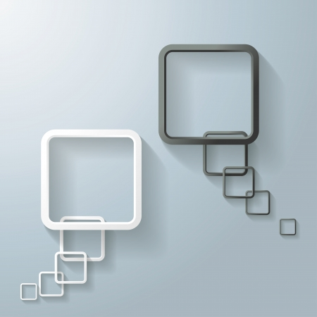 oblongs: Two abstract rectangle speech bubbles on the grey background. Illustration