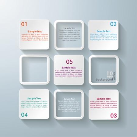 cuadrados: Diseño Infografía con los cuadrados rectángulo blanco en el fondo gris Vectores