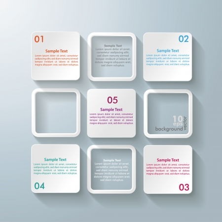 square background: Infographic design with white rectangle squares on the grey background
