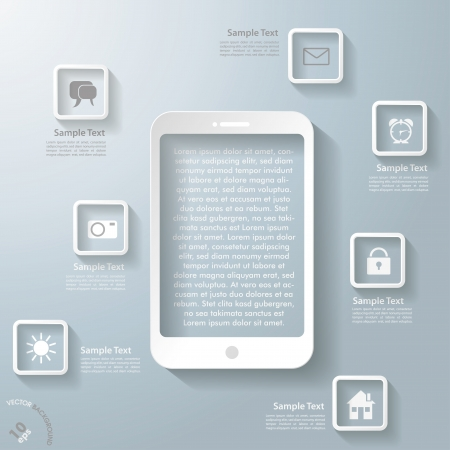stand out: Infographic design with white smartphone and apps on the grey background.