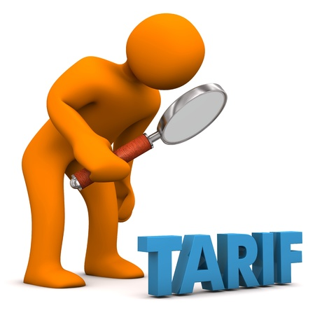 tariff: Orange cartoon character with loupe and blue german text Tarif, translate Tariff.