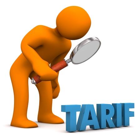 "Orange cartoon character with loupe and blue german text ""Tarif"", translate ""Tariff"". Stock Photo"