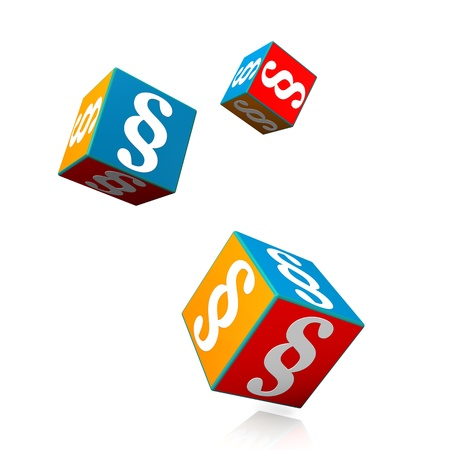 Colorful cubes with white paragraphs on the white background.