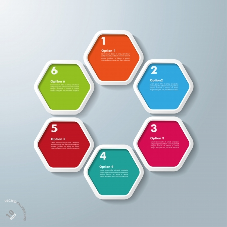 Colored hexagons with shadows on the grey background. Eps 10 vector file. Vector