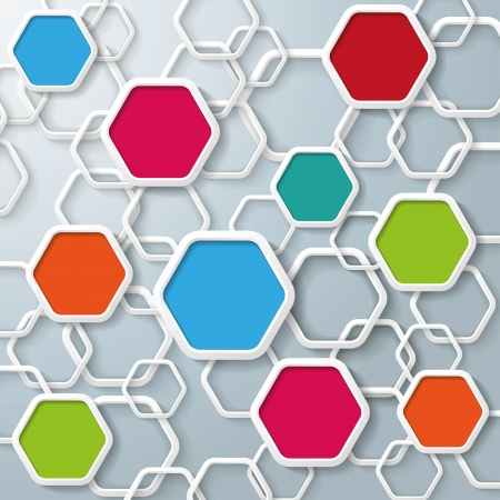 Colored hexagons with shadows on the grey background. Eps 10 vector file.