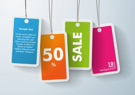 sale tag: Four colored price stickers on the grey background. Eps 10 vector file.