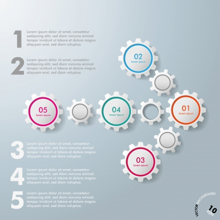 Colorful infographic gears on the grey background. Eps 10 vector file. Vector