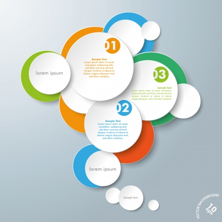 idea bubble: Infographic design with colored and white circles on the grey background. Eps 10 vector file. Illustration