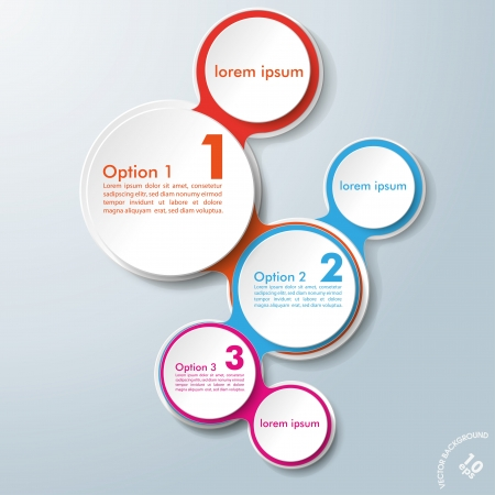 circular chain: Infographic design with colored and white circles on the grey background. Eps 10 vector file. Illustration